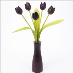5 purple Tulips with 3 green leaves with matching purple 'cool' vase